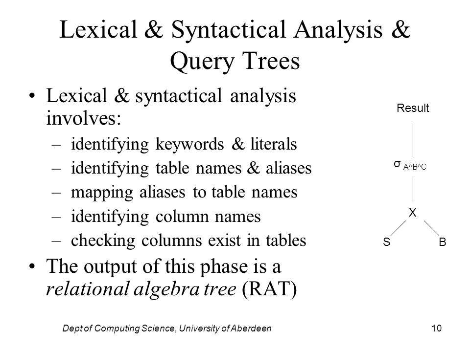 Dept of Computing Science, University of Aberdeen10 Lexical & Syntactical Analysis & Query Trees Lexical & syntactical analysis involves: – identifying keywords & literals – identifying table names & aliases – mapping aliases to table names – identifying column names – checking columns exist in tables The output of this phase is a relational algebra tree (RAT) X SB σ A^B^C Result