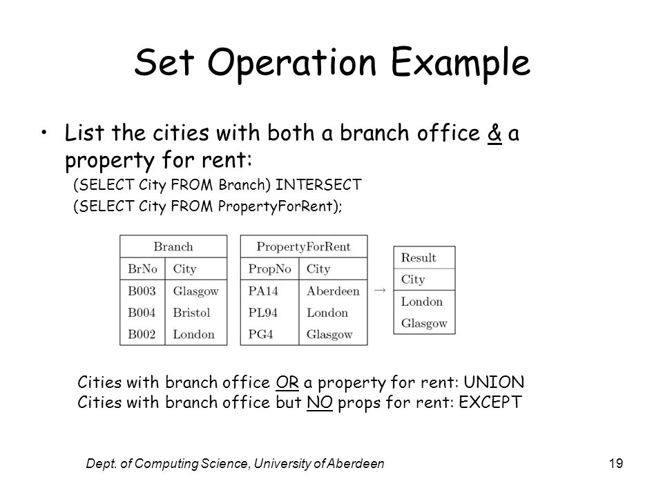 Dept. of Computing Science, University of Aberdeen19 Set Operation Example List the cities with both a branch office & a property for rent: (SELECT Ci