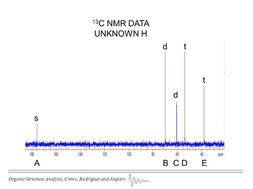 Organic Structure Analysis, Crews, Rodriguez and Jaspars d s d t t 13 C NMR DATA UNKNOWN H A B C D E