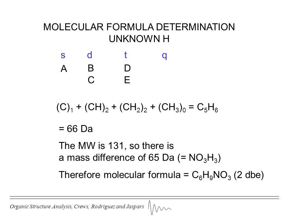 Organic Structure Analysis, Crews, Rodriguez and Jaspars MOLECULAR FORMULA DETERMINATION UNKNOWN H (C) 1 + (CH) 2 + (CH 2 ) 2 + (CH 3 ) 0 = C 5 H 6 s