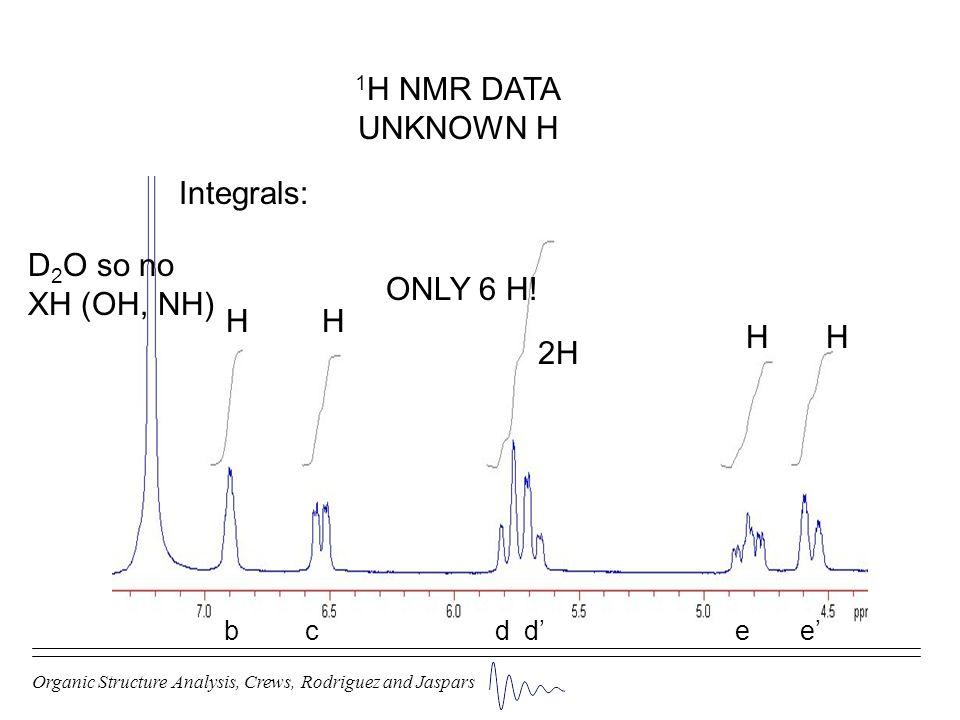 Organic Structure Analysis, Crews, Rodriguez and Jaspars 1 H NMR DATA UNKNOWN H Integrals: H ONLY 6 H! H 2H HH D 2 O so no XH (OH, NH) b c d d e e