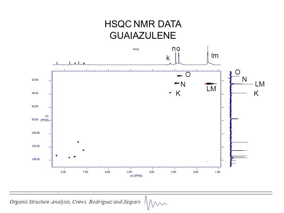 Organic Structure Analysis, Crews, Rodriguez and Jaspars HSQC NMR DATA GUAIAZULENE KK k LM lm N N n O O o