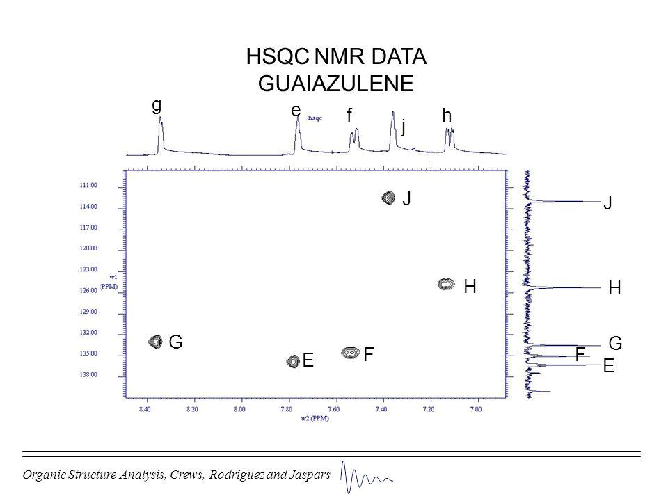 Organic Structure Analysis, Crews, Rodriguez and Jaspars HSQC NMR DATA GUAIAZULENE E E e FF f G G g H H h J J j