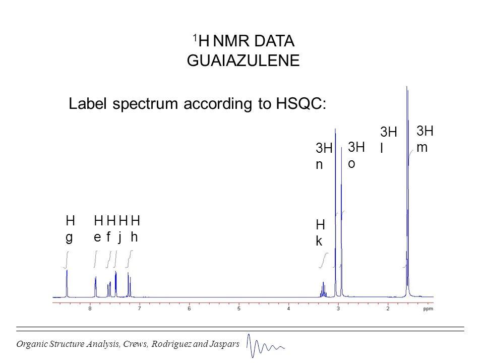 Organic Structure Analysis, Crews, Rodriguez and Jaspars 1 H NMR DATA GUAIAZULENE HgHg HeHe HfHf HjHj HhHh HkHk 3H n 3H o 3H l 3H m Label spectrum acc