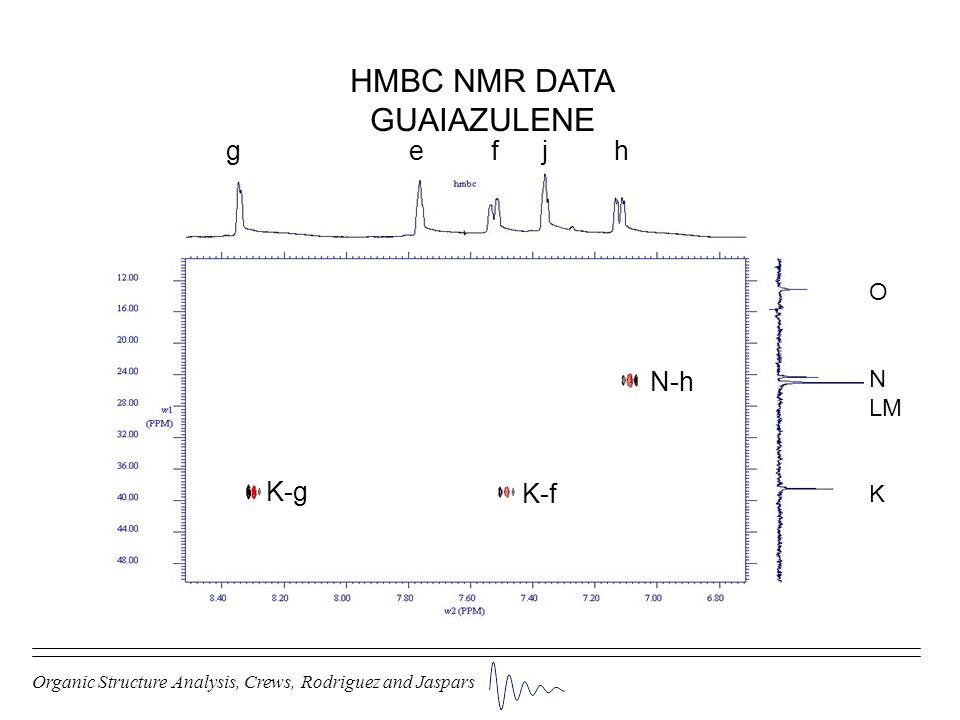 Organic Structure Analysis, Crews, Rodriguez and Jaspars HMBC NMR DATA GUAIAZULENE g e f j h O N LM K K-g K-f N-h