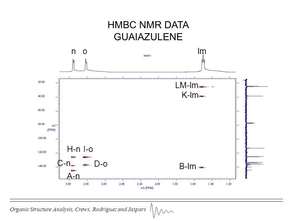 Organic Structure Analysis, Crews, Rodriguez and Jaspars HMBC NMR DATA GUAIAZULENE n o lm LM-lm K-lm B-lm I-oH-n D-o C-n A-n
