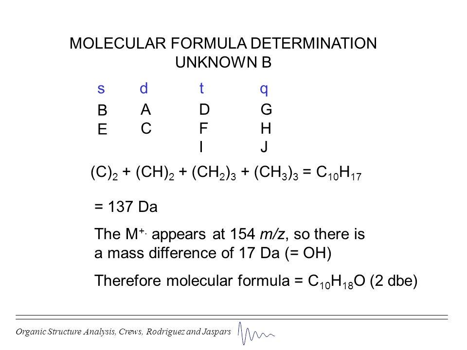 Organic Structure Analysis, Crews, Rodriguez and Jaspars MOLECULAR FORMULA DETERMINATION UNKNOWN B (C) 2 + (CH) 2 + (CH 2 ) 3 + (CH 3 ) 3 = C 10 H 17