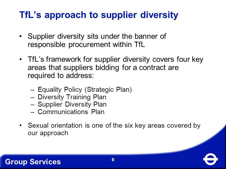 Group Services 7 Equality Policy (Strategic Plan) Suppliers are required to prepare and submit to TfL a strategic plan for their organisations.