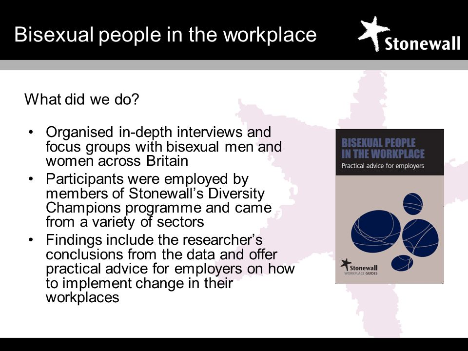 Organised in-depth interviews and focus groups with bisexual men and women across Britain Participants were employed by members of Stonewalls Diversity Champions programme and came from a variety of sectors Findings include the researchers conclusions from the data and offer practical advice for employers on how to implement change in their workplaces What did we do.