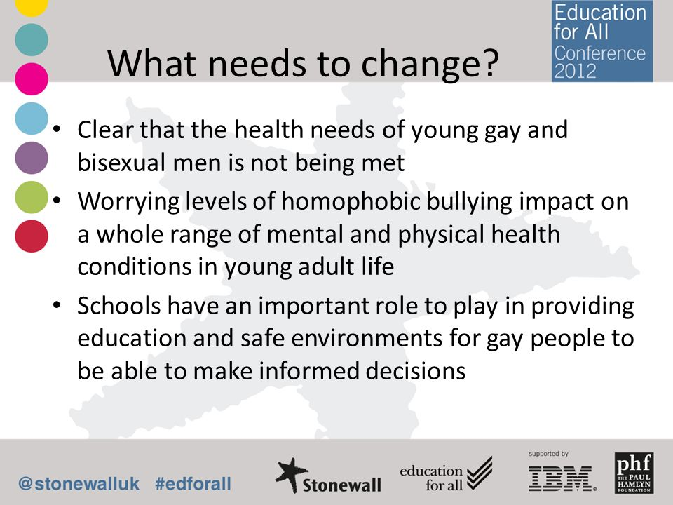 What needs to change? Clear that the health needs of young gay and bisexual men is not being met Worrying levels of homophobic bullying impact on a wh