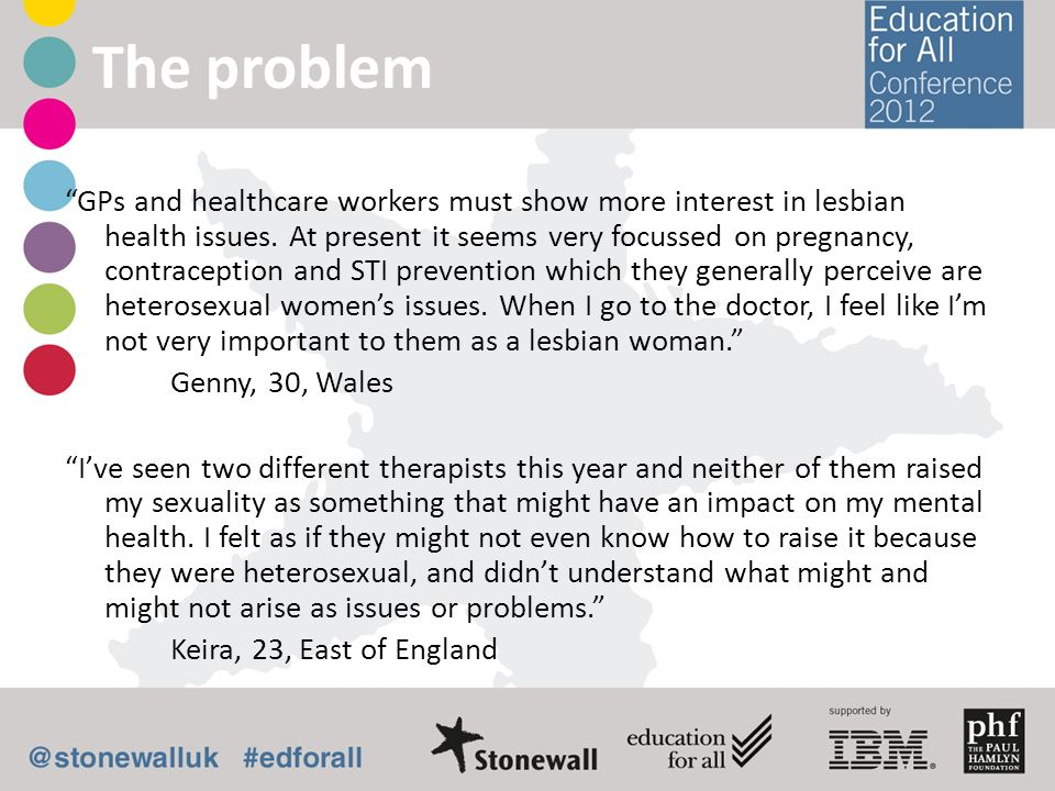 GPs and healthcare workers must show more interest in lesbian health issues. At present it seems very focussed on pregnancy, contraception and STI pre