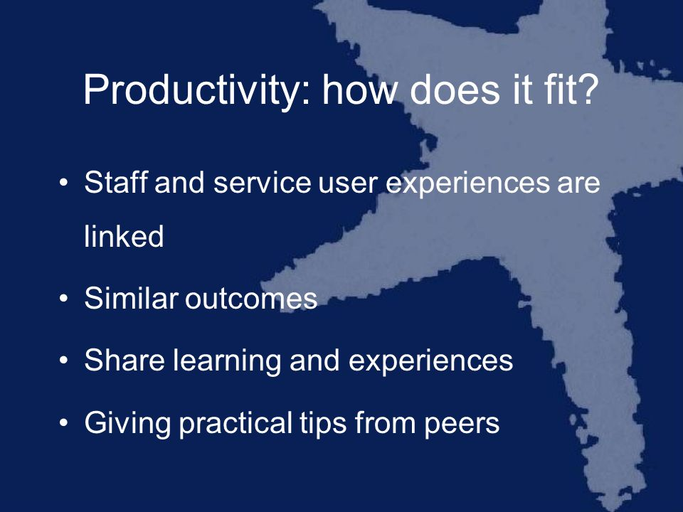 Productivity: how does it fit.