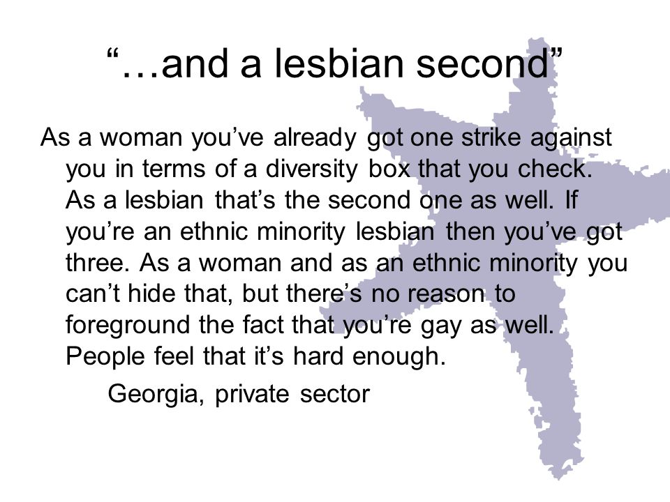 …and a lesbian second As a woman youve already got one strike against you in terms of a diversity box that you check. As a lesbian thats the second on