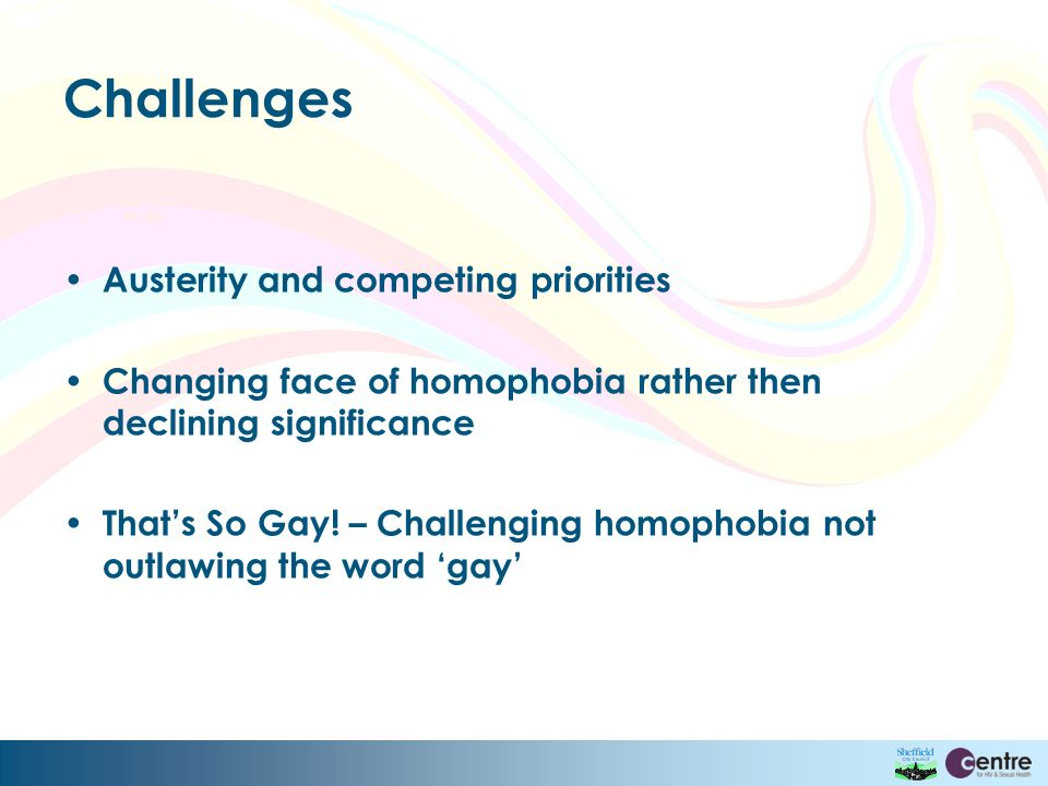 Challenges Austerity and competing priorities Changing face of homophobia rather then declining significance Thats So Gay.