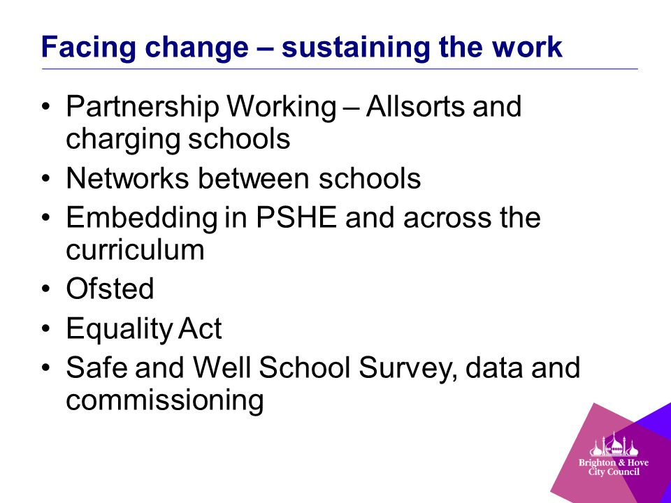 Facing change – sustaining the work Partnership Working – Allsorts and charging schools Networks between schools Embedding in PSHE and across the curriculum Ofsted Equality Act Safe and Well School Survey, data and commissioning