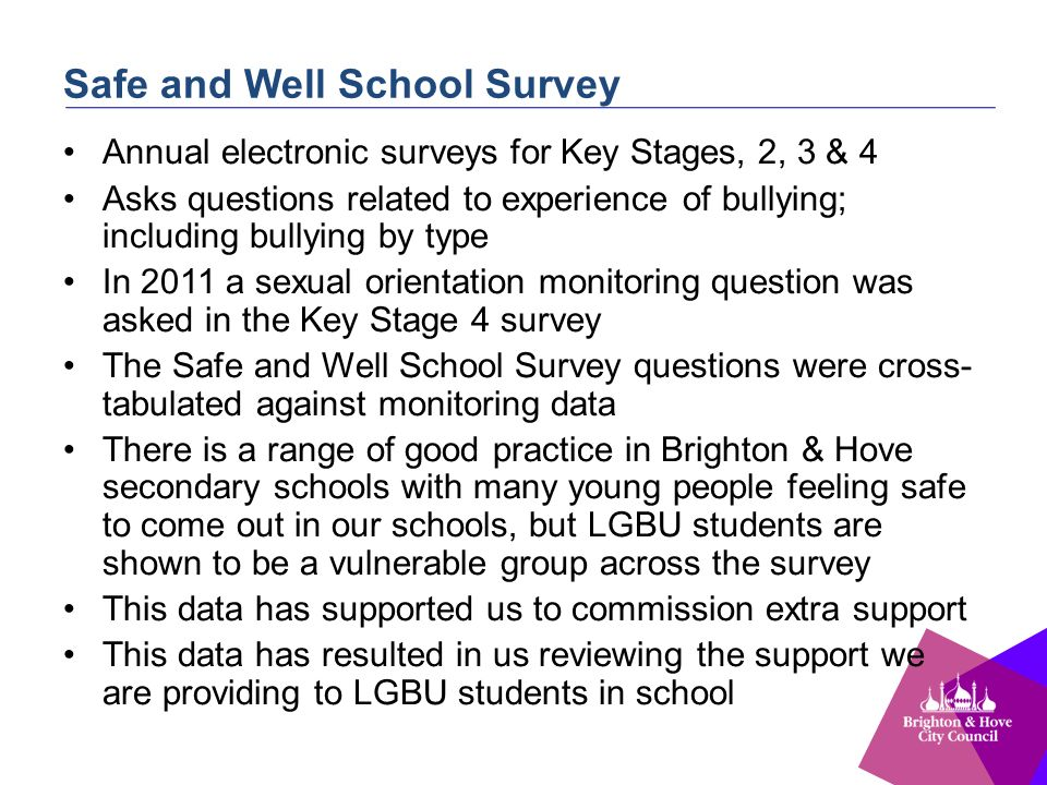 Safe and Well School Survey Annual electronic surveys for Key Stages, 2, 3 & 4 Asks questions related to experience of bullying; including bullying by type In 2011 a sexual orientation monitoring question was asked in the Key Stage 4 survey The Safe and Well School Survey questions were cross- tabulated against monitoring data There is a range of good practice in Brighton & Hove secondary schools with many young people feeling safe to come out in our schools, but LGBU students are shown to be a vulnerable group across the survey This data has supported us to commission extra support This data has resulted in us reviewing the support we are providing to LGBU students in school