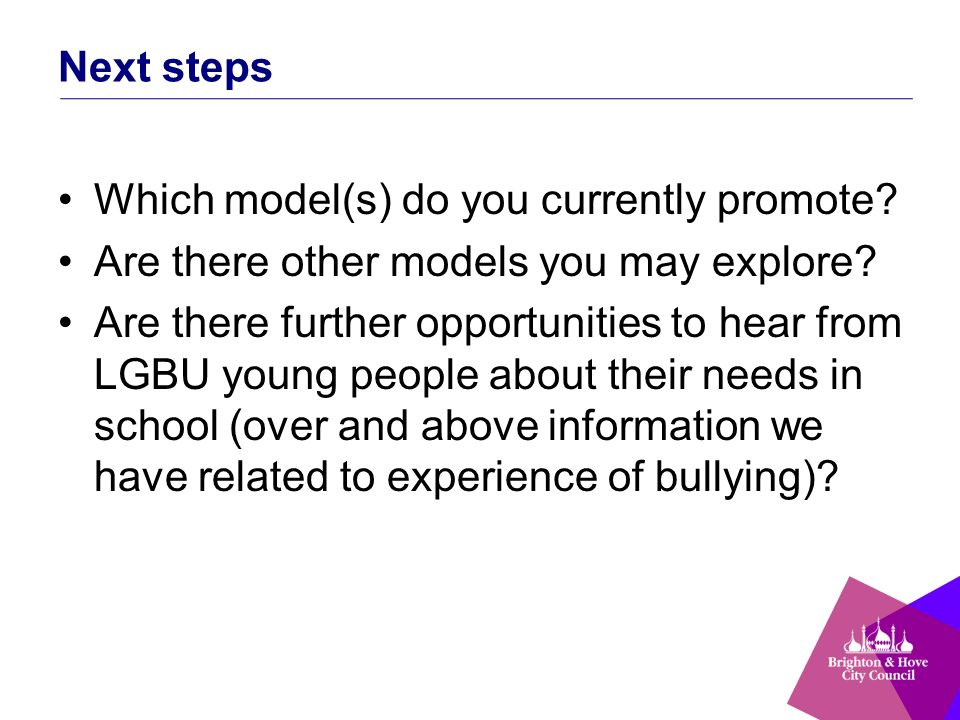 Next steps Which model(s) do you currently promote.