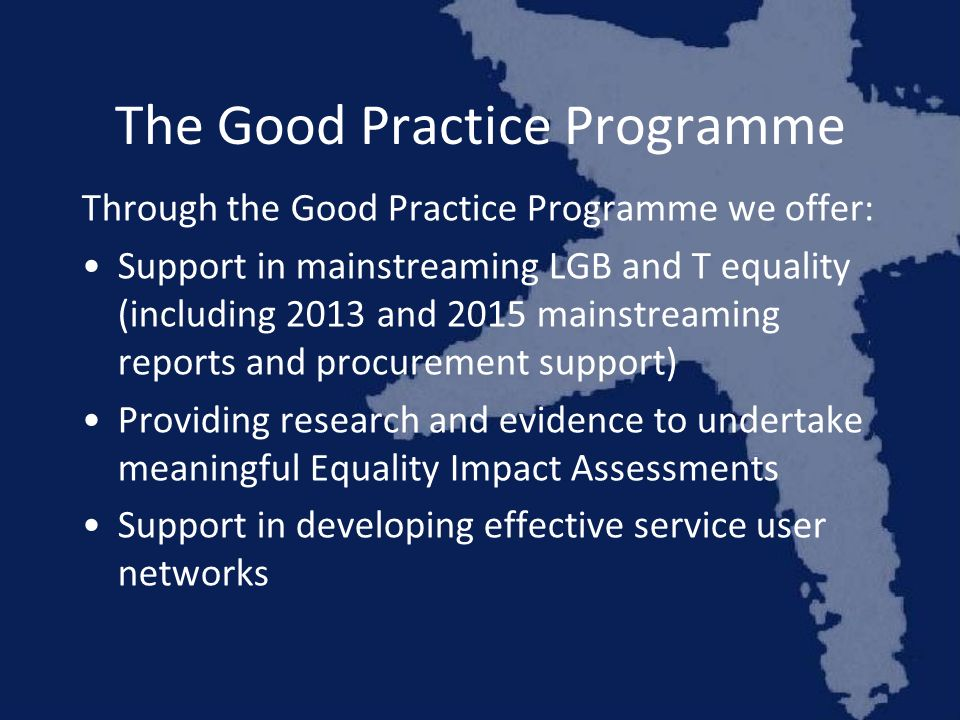 The Good Practice Programme Through the Good Practice Programme we offer: Support in mainstreaming LGB and T equality (including 2013 and 2015 mainstreaming reports and procurement support) Providing research and evidence to undertake meaningful Equality Impact Assessments Support in developing effective service user networks