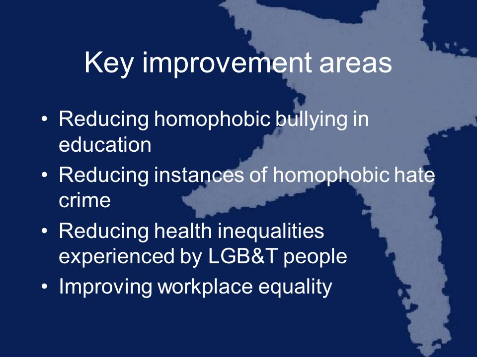 Key improvement areas Reducing homophobic bullying in education Reducing instances of homophobic hate crime Reducing health inequalities experienced by LGB&T people Improving workplace equality