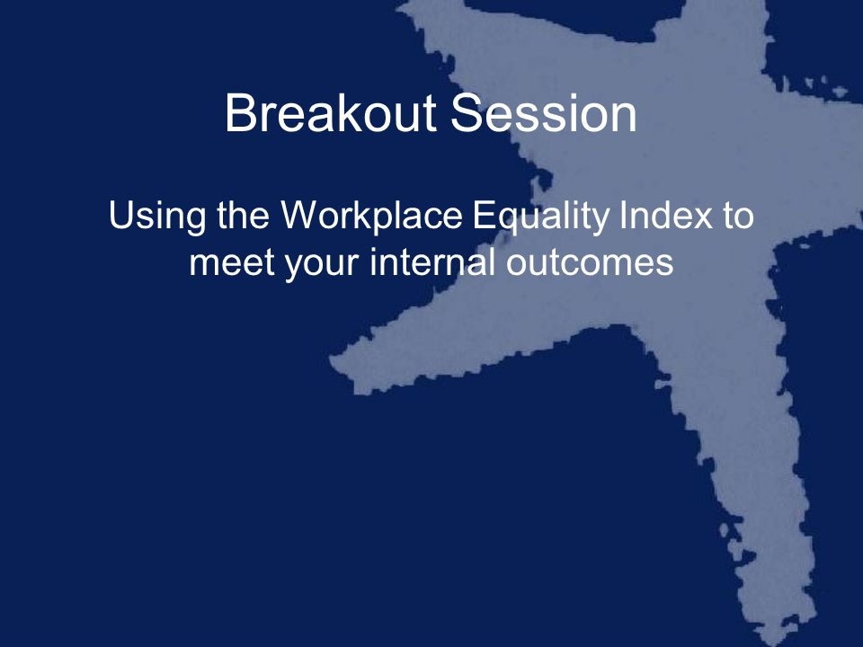 Breakout Session Using the Workplace Equality Index to meet your internal outcomes