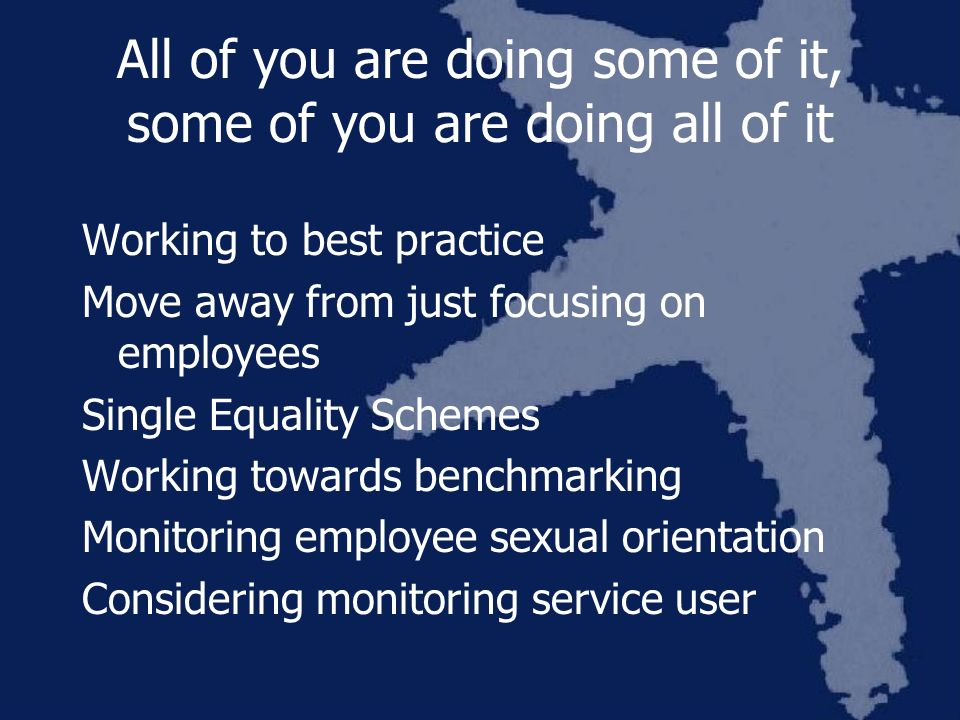 All of you are doing some of it, some of you are doing all of it Working to best practice Move away from just focusing on employees Single Equality Schemes Working towards benchmarking Monitoring employee sexual orientation Considering monitoring service user
