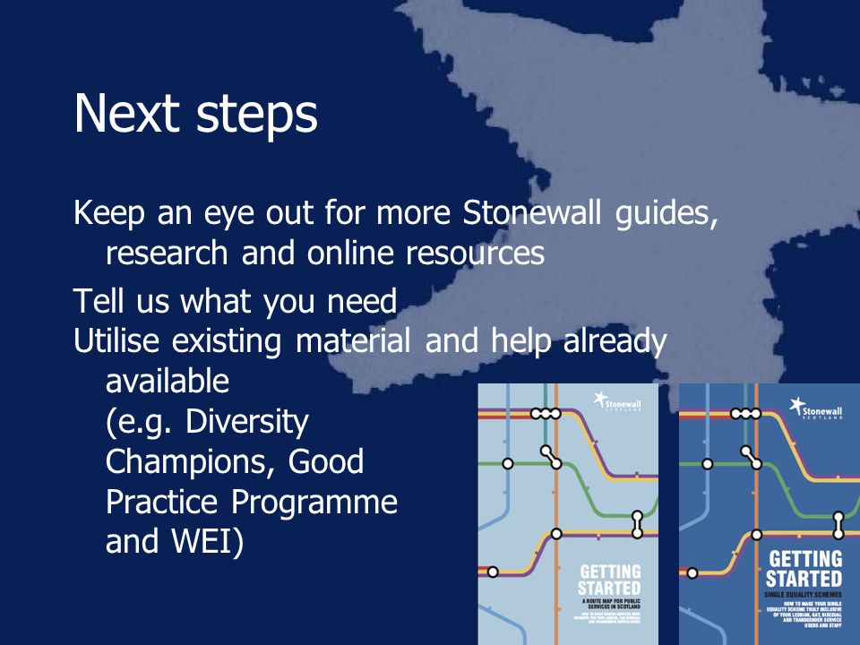 Next steps Keep an eye out for more Stonewall guides, research and online resources Tell us what you need Utilise existing material and help already available (e.g.