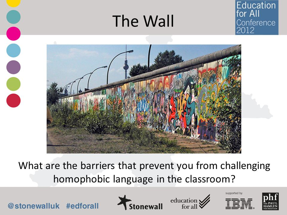 The Wall What are the barriers that prevent you from challenging homophobic language in the classroom