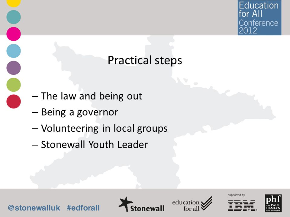 Practical steps – The law and being out – Being a governor – Volunteering in local groups – Stonewall Youth Leader