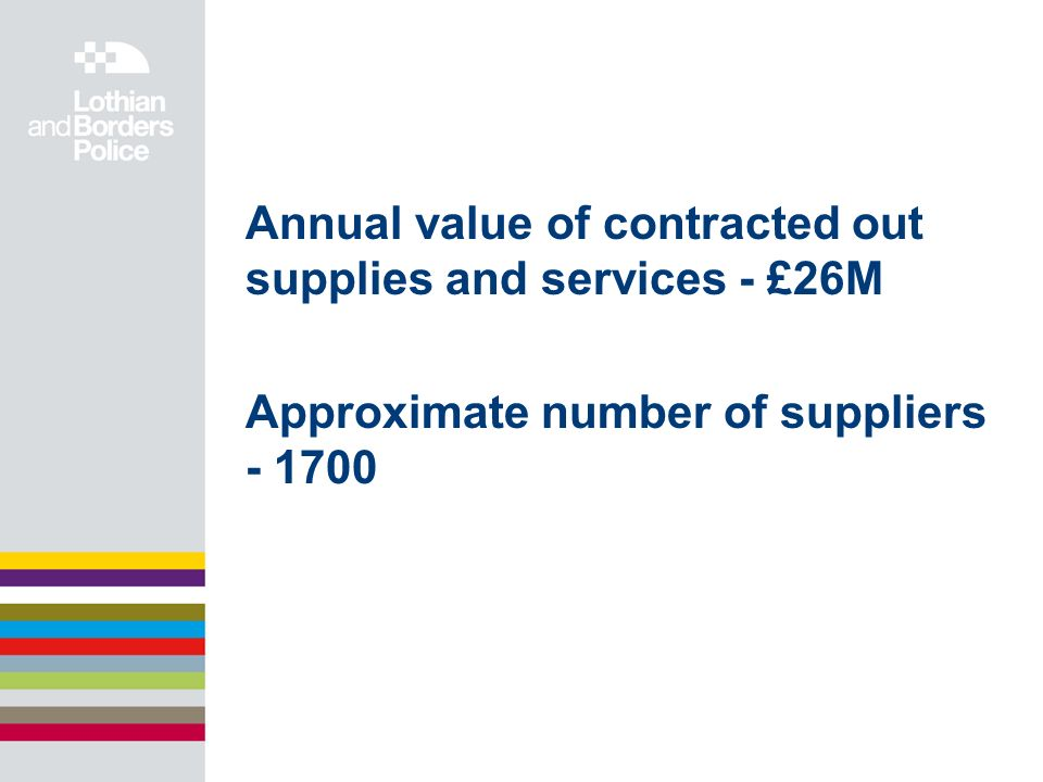 Annual value of contracted out supplies and services - £26M Approximate number of suppliers - 1700