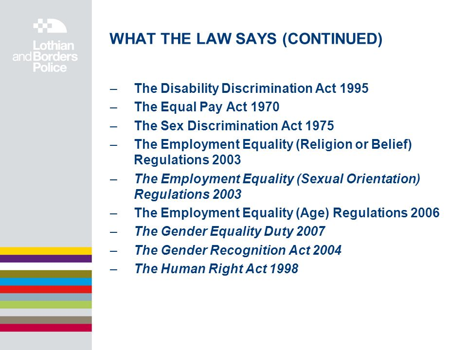 WHAT THE LAW SAYS (CONTINUED) –The Disability Discrimination Act 1995 –The Equal Pay Act 1970 –The Sex Discrimination Act 1975 –The Employment Equality (Religion or Belief) Regulations 2003 –The Employment Equality (Sexual Orientation) Regulations 2003 –The Employment Equality (Age) Regulations 2006 –The Gender Equality Duty 2007 –The Gender Recognition Act 2004 –The Human Right Act 1998