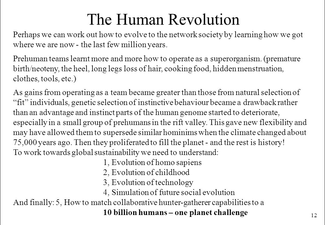 12 The Human Revolution Perhaps we can work out how to evolve to the network society by learning how we got where we are now - the last few million ye