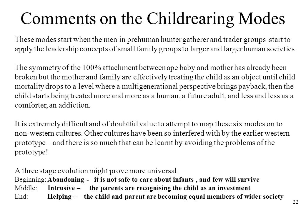 22 Comments on the Childrearing Modes These modes start when the men in prehuman hunter gatherer and trader groups start to apply the leadership conce