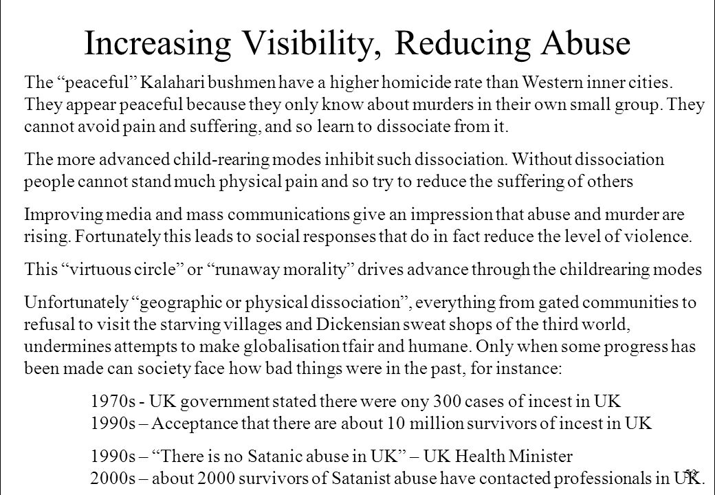 53 Increasing Visibility, Reducing Abuse The peaceful Kalahari bushmen have a higher homicide rate than Western inner cities. They appear peaceful bec