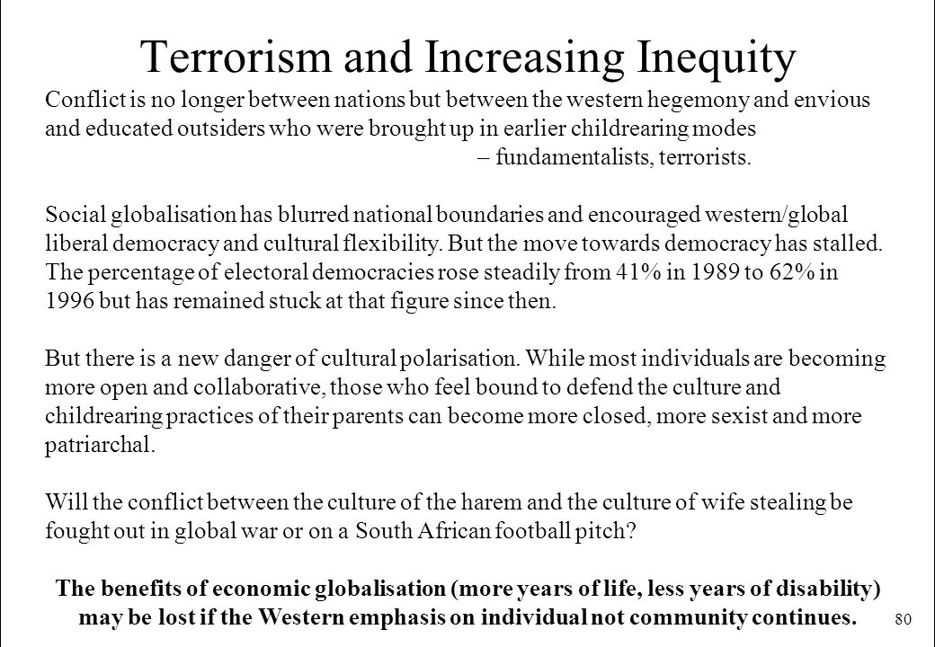 80 Terrorism and Increasing Inequity Conflict is no longer between nations but between the western hegemony and envious and educated outsiders who wer
