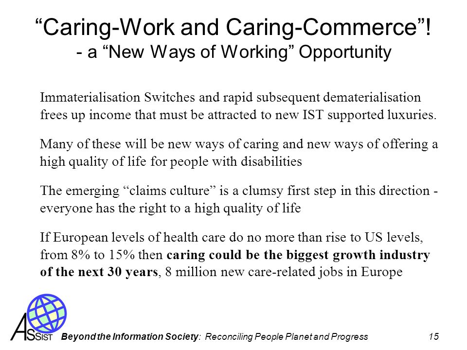 Beyond the Information Society: Reconciling People Planet and Progress 15 Caring-Work and Caring-Commerce! - a New Ways of Working Opportunity Immater