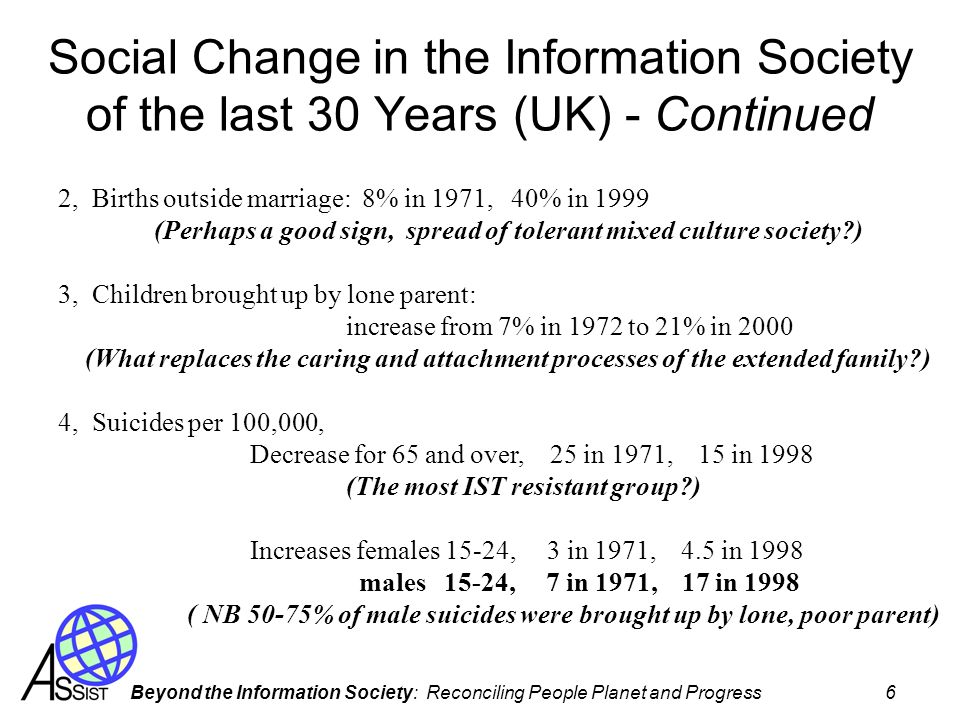Beyond the Information Society: Reconciling People Planet and Progress 6 Social Change in the Information Society of the last 30 Years (UK) - Continued 2, Births outside marriage: 8% in 1971, 40% in 1999 (Perhaps a good sign, spread of tolerant mixed culture society ) 3, Children brought up by lone parent: increase from 7% in 1972 to 21% in 2000 (What replaces the caring and attachment processes of the extended family ) 4, Suicides per 100,000, Decrease for 65 and over, 25 in 1971, 15 in 1998 (The most IST resistant group ) Increases females 15-24, 3 in 1971, 4.5 in 1998 males 15-24, 7 in 1971, 17 in 1998 ( NB 50-75% of male suicides were brought up by lone, poor parent)