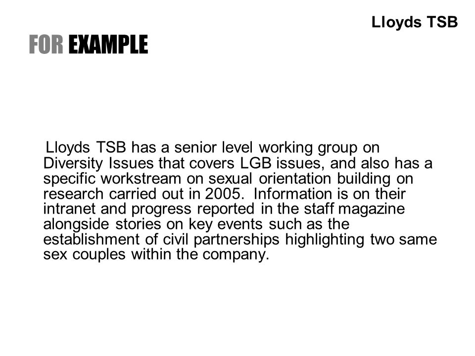FOR EXAMPLE Lloyds TSB has a senior level working group on Diversity Issues that covers LGB issues, and also has a specific workstream on sexual orientation building on research carried out in 2005.