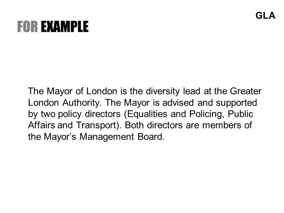 FOR EXAMPLE The Mayor of London is the diversity lead at the Greater London Authority.