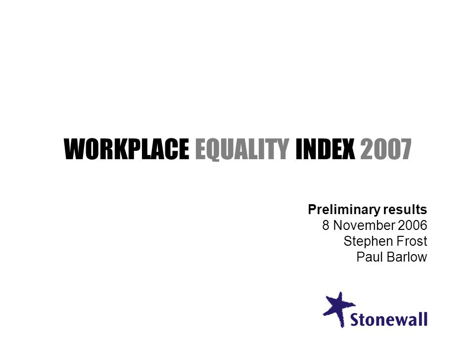 WORKPLACE EQUALITY INDEX 2007 Preliminary results 8 November 2006 Stephen Frost Paul Barlow