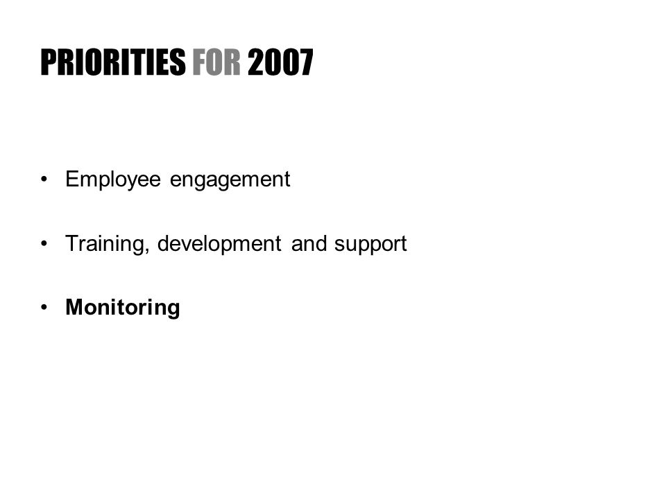 PRIORITIES FOR 2007 Employee engagement Training, development and support Monitoring