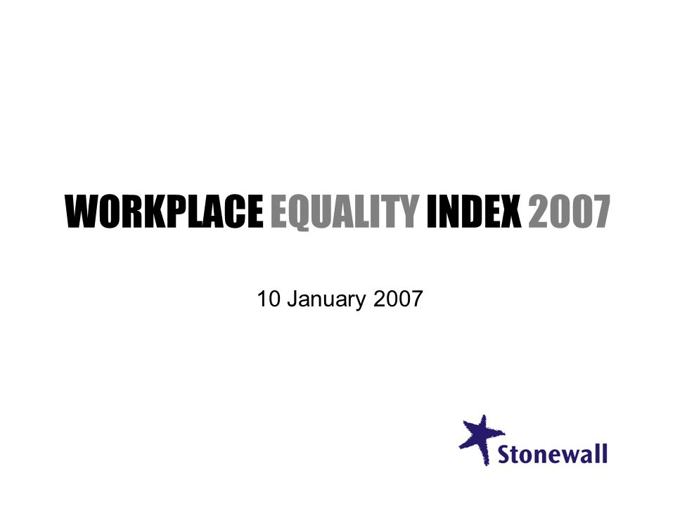 WORKPLACE EQUALITY INDEX 2007 10 January 2007