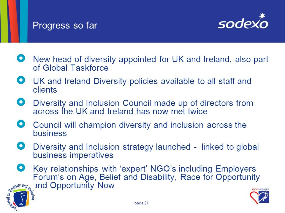 page 21 Progress so far New head of diversity appointed for UK and Ireland, also part of Global Taskforce UK and Ireland Diversity policies available