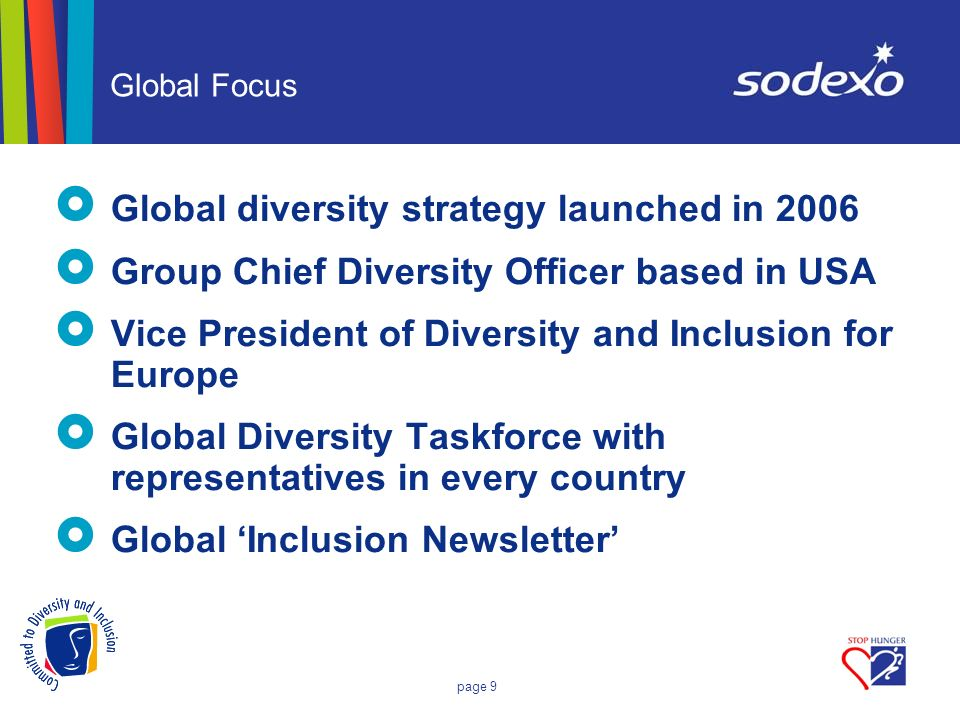 page 9 Global Focus Global diversity strategy launched in 2006 Group Chief Diversity Officer based in USA Vice President of Diversity and Inclusion fo