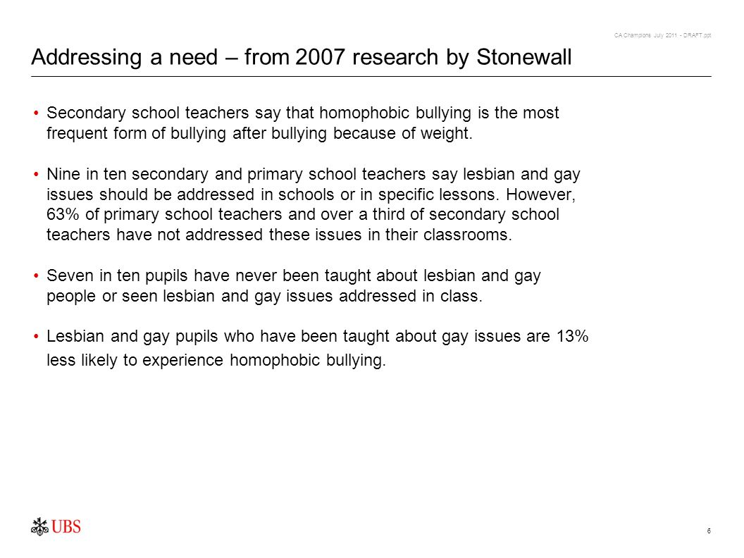 CA Champions July 2011 - DRAFT.ppt 6 Addressing a need – from 2007 research by Stonewall Secondary school teachers say that homophobic bullying is the most frequent form of bullying after bullying because of weight.
