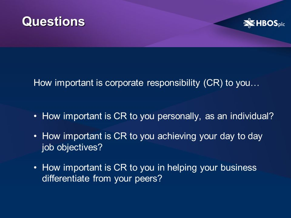 Questions How important is corporate responsibility (CR) to you… How important is CR to you personally, as an individual.