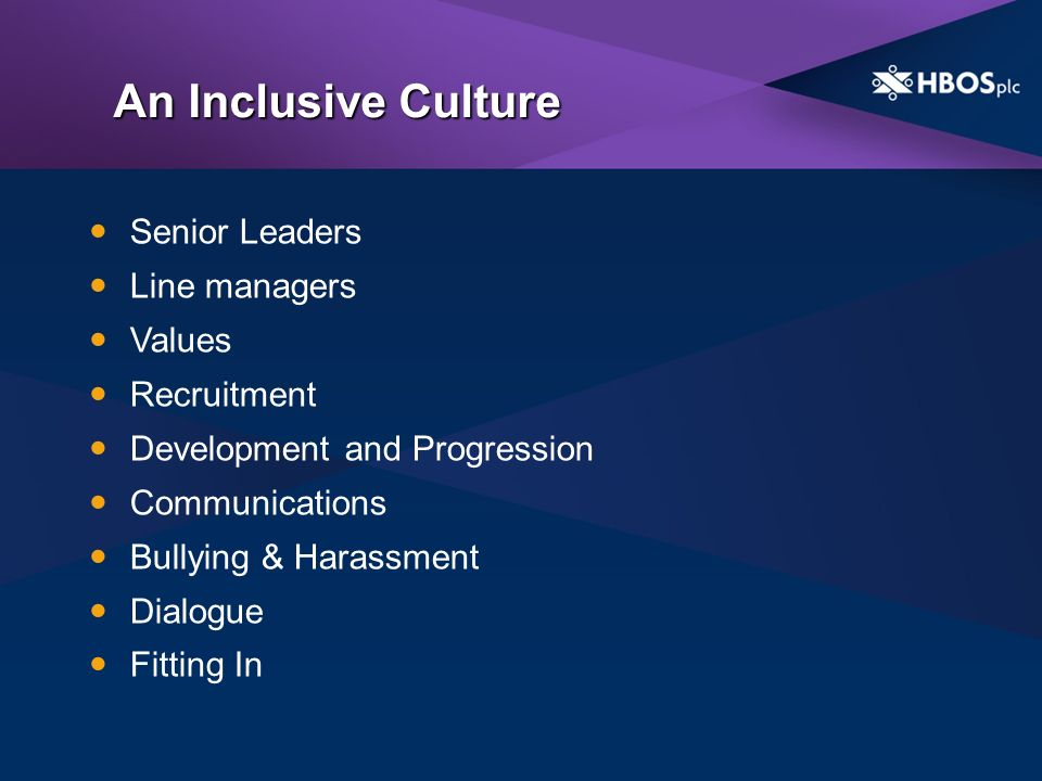 An Inclusive Culture Senior Leaders Line managers Values Recruitment Development and Progression Communications Bullying & Harassment Dialogue Fitting In