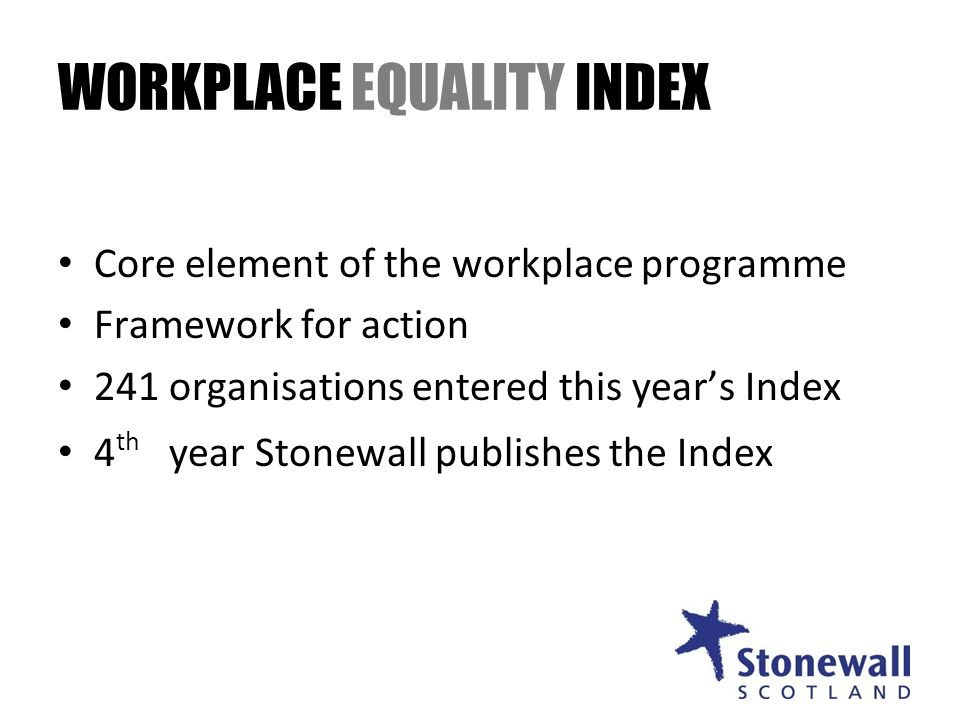 WORKPLACE EQUALITY INDEX Core element of the workplace programme Framework for action 241 organisations entered this years Index 4 th year Stonewall publishes the Index