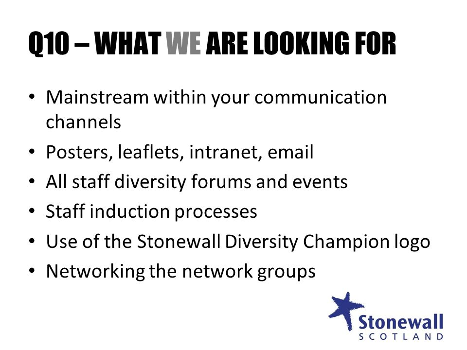 Q10 – WHAT WE ARE LOOKING FOR Mainstream within your communication channels Posters, leaflets, intranet, email All staff diversity forums and events Staff induction processes Use of the Stonewall Diversity Champion logo Networking the network groups
