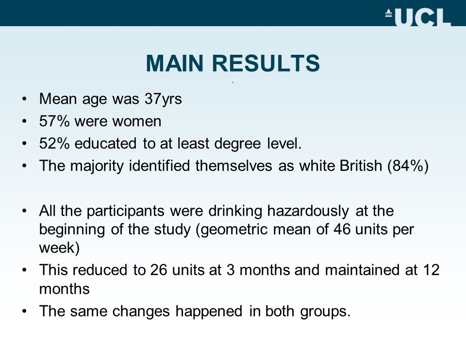 MAIN RESULTS.Mean age was 37yrs 57% were women 52% educated to at least degree level.