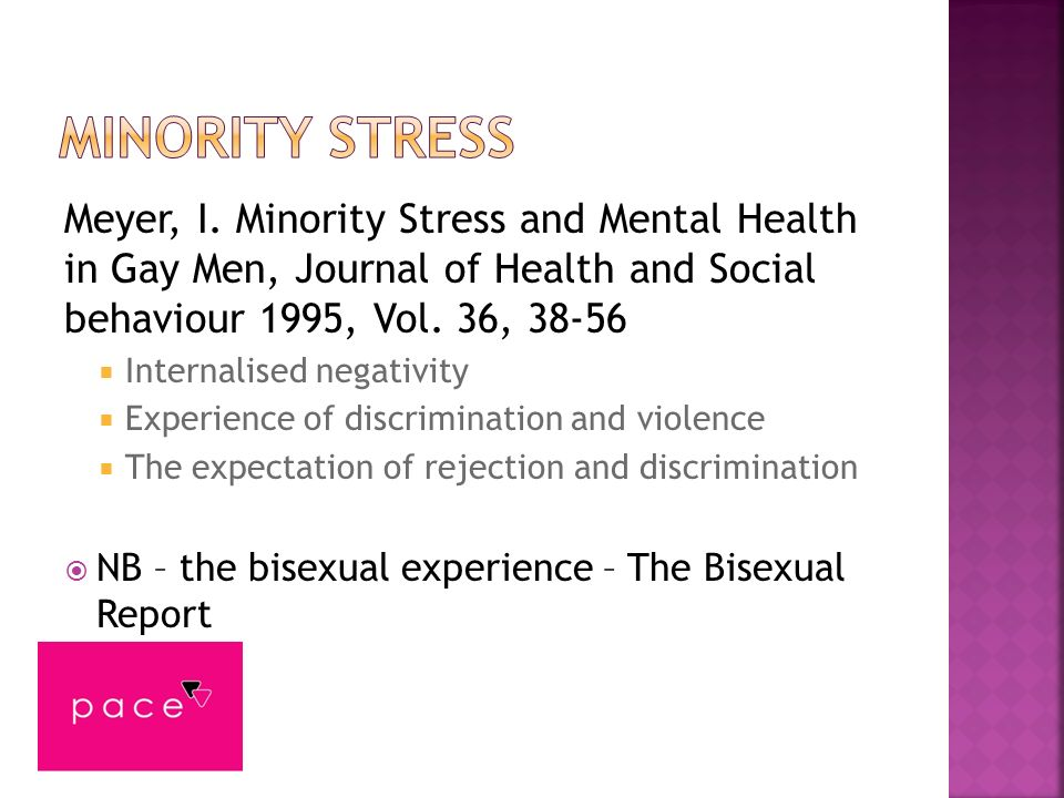 Meyer, I. Minority Stress and Mental Health in Gay Men, Journal of Health and Social behaviour 1995, Vol. 36, 38-56 Internalised negativity Experience